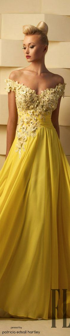 # Hanna Toumajean - 2015 yellow off shoulder maxi dress women fashion outfit clothing style apparel @roressclothes closet ideas