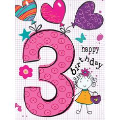 Birthday Card - Large spotty 3 with balloons tied to it. - Greeting Cards