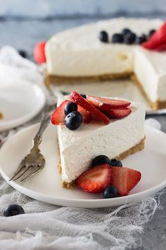 This No Bake Vanilla Cheesecake is an easy recipe! It's incredibly smooth and goes great with many toppings!