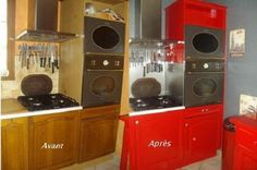 CUISINE Rustique relookée Kitchen Wall Tiles, Stacked Washer Dryer, Home Staging, Home Appliances, House, Inspiration, Recherche Google, Decoration, Handmade