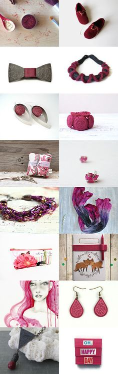 """berry berry"" treasury by Handmade Covers on Etsy -- Pinned with TreasuryPin.com #pink #fushia #burgundy #maroon"