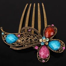 9K Yellow Gold Filled Colorful Austrian Crystal Flower Hair Pin Comb Clip F024