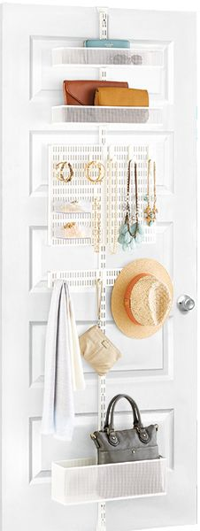Interesting organizational unit to add behind small doors. | elfa door & wall rack from The Container Store.