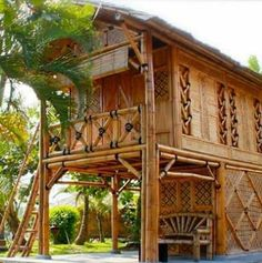 Bamboo House Design, Bungalow House Design, House Front Design, Hut House, Tiny House Cabin, Bahay Kubo Design, Bamboo Building, Bamboo Structure, Bamboo Construction