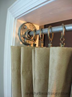 How to make a galvanized curtain rod from plumbing parts fro the closet...I hate doors!