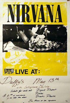 Grunge Kirk Cobain Nirvana in New York at The Pyramid Concert Poster 1990 Music Film, Art Music, 1990 Music, Indie Music, Soul Music, Nirvana Album Cover, Arte Punk, Nirvana Lyrics, Rock Band Posters