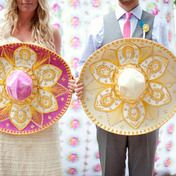 love these huge mexican hats most marvellously painted! so cute with Bride and groom photo