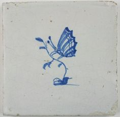 Antique Dutch Delft tile in blue depicting a butterfly, 17th century
