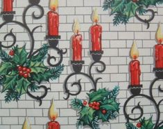 Vintage Wrapping Paper - Christmas Candle Sconces on White Brick Background - Christmas Wrapping Paper - 1 Unused Full Sheet Gift Wrap Christmas Candles, Christmas Books, Christmas Paper, Retro Christmas, Christmas Time, Vintage Christmas Wrapping Paper, Christmas Gift Wrapping, Gift Wrapping Paper, Wrapping Papers