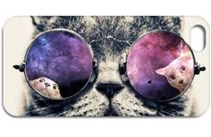 Cat With Glasses Iphone Back Socer Case 4 4S 5 5S 5C 6