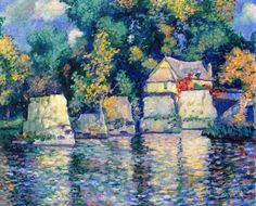 The Red Bridge in Vernon near Giverny~Theodore Earl Butler
