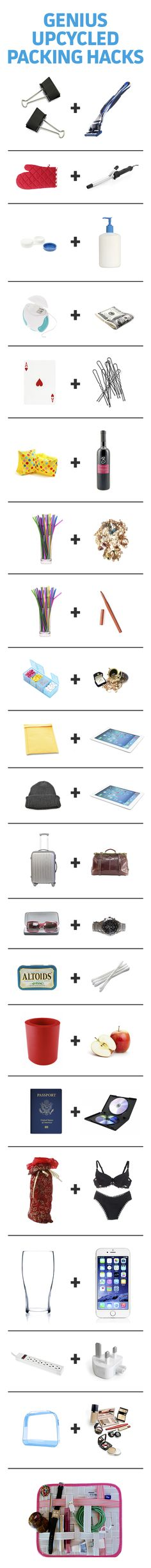 Save suitcase space and make packing a breeze by repurposing these common household items.