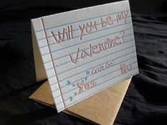 Things were simpler when we were kids. The Be My Valentine card is a throwback to the days of bad acne and braces, when you just sent a note asking that special someone to be your #Valentine.  #letterpress #love
