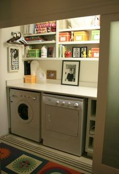 Need help for your small laundry room? Check out these 25 great ideas for making the most of a small laundry, be it a closet, bath shared space or a tiny room! Laundry Room Organization, Laundry Room Design, Laundry Rooms, Laundry Area, Laundry Decor, Small Laundry Closet, Small Laundry Space, Laundry Station, Laundry Bags