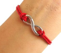Infinity bracelet-antique silver infinity wish bracelet for friends, gift for boyfriends and girlfriends, red wax cords....http://bit.ly/1kL7L6x