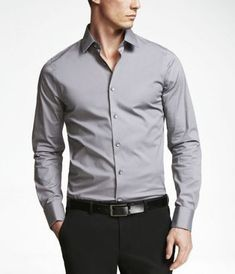 Extra Slim Fit French cuff shirt in Cast Iron from Express Gray Shirt Outfit, Teal Shirt, Stylish Men, Men Casual, Chemise Fashion, Formal Shirts For Men, Men Formal, Formal Men Outfit, T Shirt Sport