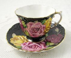 HAIRLINE Aynsley Black Tea Cup and Saucer with Cabbage Roses, Vintage Bone China
