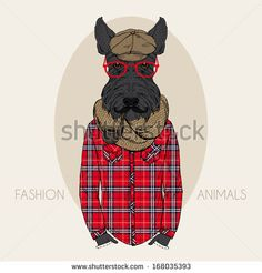 Hand Drawn Fashion Illustration of Scottish-terrier in colors - stock vector