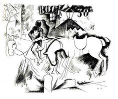 Yuri Pavlovich ANNENKOV  A Horseman. 1917.  Indian ink, pen on paper.