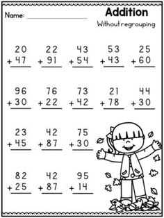 Fall Math Worksheets - 2 Digit Addition without Regrouping Worksheets First Grade Math Worksheets, Printable Math Worksheets, School Worksheets, Addition With Regrouping Worksheets, Kindergarten Spelling Words, Math Patterns, Reading Comprehension Worksheets, Math For Kids, Math Sheets