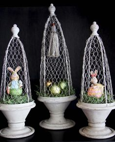 Savvy Seasons by Liz: The Primitive Collection - cloche ideas Hoppy Easter, Easter Bunny, Easter Tree Decorations, Easter Decor, Chicken Wire Art, Cloche Decor, Somebunny Loves You, Little Bunny Foo Foo, April Easter