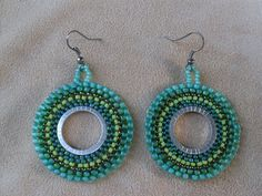 Beaded hoop earrings green dangle seed bead by PrettyBeadsforyou, $23.00