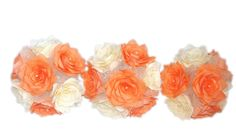 This lovely bouquet is made of orange and ivory coffee filter paper Roses. Each flower petal is hand cut, individually painted, hung to dry, assembled and shaped to create the perfect Rose. Between the flowers are delicate pearl sprays and ivory organza, The stems are wrapped ivory satin ribbon with tiny ivory bows and orange sheer ribbon.