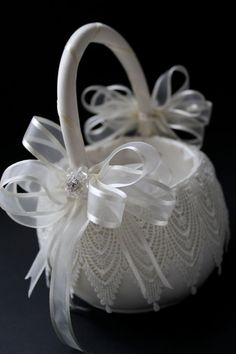 Venice Lace Flower Girl Basket by CeremonyDeluxe on Etsy, $60.00