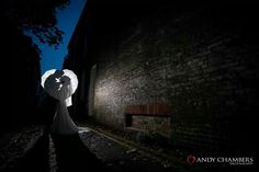 Night time photo Umbrella wedding photo Silhouette wedding photo Romantic photo  Andy Chambers Photography  Doubletree Hilton in Cambridge