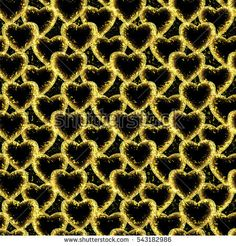 seamless abstract floral pattern with yellow  hearts in retro style,black background,