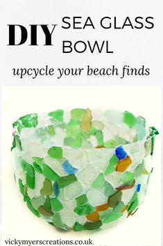 Learn how to make a sea glass bowl with tacky glue - this make a perfect craft for your lovely collected sea glass Sea Glass Beach, Sea Glass Art, Sea Glass Jewelry, Stained Glass, Silver Jewelry, Glass Christmas Decorations, Sea Glass Crafts, Ocean Crafts, Diy Jewelry Tutorials