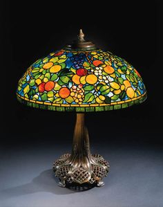Fruit    Louis Comfort Tiffany    Christie's Tiffany Stained Glass, Stained Glass Lamps, Leaded Glass, Mosaic Glass, Tiffany Glass, Louis Comfort Tiffany, Antique Lamps, Vintage Lamps, Vintage Lighting