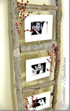 A cool idea for displaying more photos, especially in a narrow/tall wall area (which we have a LOT of.)