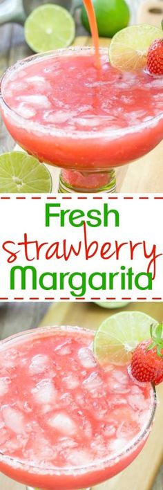 This tasty margarita is made with fresh juicy strawberries, tangy lime juice and tequila. Perfect for summer sipping and holiday celebrations!