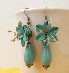 Turquoise earrings Flower earrings Spring by insoujewelry