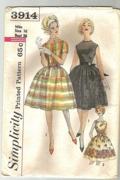 Simplicity 3914 Vintage 50s dress sewing pattern by NoodlesNotions, $20.00