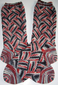 """A Step Above"" entrelac socks pattern: Knitter's Magazine Summer 2004 yarn: sweetgeorgia's yarn, colorway ""Angel"" need more yarn than a usual pair of socks 2.25mm and 2.0mm needles"
