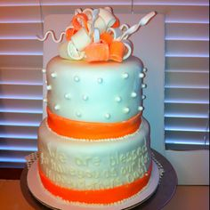 Two tier Fondant bow cake peach and white  Created by Cake Kouture by Char