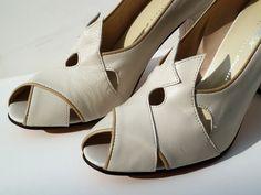 Remix Vintage Shoes, Myrna Peep Toe Heel in Ivory/Taupe