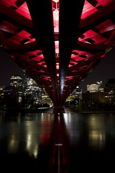 At night, the Peace bridge is even more amazing. O Canada, Alberta Canada, Canada Travel, The Beautiful Country, Beautiful Places, Riding Mountain National Park, Cultural Capital, Train Tracks, Banff