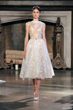 inbal dror fall winter 2015 #bridal gown short #wedding dress sheer bodice illusion cap sleeves #shortweddingdress #weddingdress #weddings