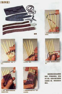 Use double-pointed knitting needles for this kind of weaving? How attach the warp? Straw Weaving, Loom Weaving, Basket Weaving, Loom Knitting Projects, Weaving Projects, Loom Machine, Peg Loom, Yarn Crafts, Diy Crafts