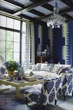 Monochromatic pattern play in the living room.  home decor and interior decorating ideas.