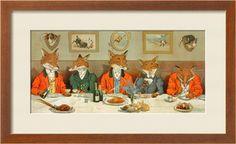 Mr. Fox's Hunt Breakfast by H. Neilson. Framed Art Print from Art.com. #mancave #hunting-decor
