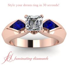 Thick Dome Shaped Three Stone Engagement Ring in 18k rose gold metal
