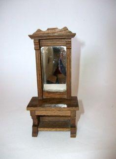vintage doll s house hall stand carved with glass mirror f8 - Jugendstil Wohnzimmer
