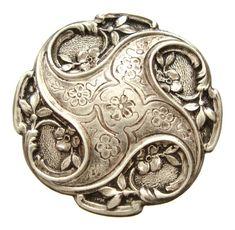 Antique solid silver Art Nouveau Brooch.