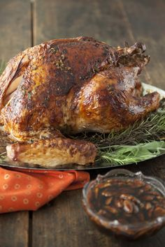 Roasted Turkey with Fried Pecan-Bourbon Glaze at PaulaDeen.com