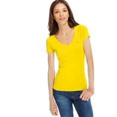 Tommy Hilfiger Short-Sleeve V-Neck Tee ($22) ❤ liked on Polyvore featuring tops, t-shirts, buttercup, yellow t shirt, vneck t shirts, cotton v neck t shirts, v neck tee en cotton tee