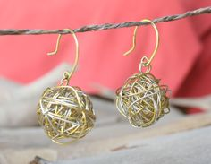 Gold and Silver Wire Ball Earrings Modern Simple by YLOjewelry